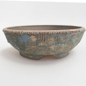 Ceramiczna miska bonsai 18,8 x 18,5 x 6 cm, kolor niebiesko-żółty