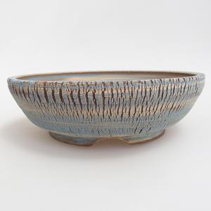 Ceramiczna miska bonsai 19,5 x 19,5 x 6 cm, kolor niebiesko-żółty
