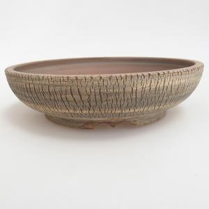 Ceramiczna miska bonsai 21 x 21 x 5,5 cm, kolor brązowo-zielony