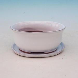 Taca miska Bonsai H 30 - miska 12 x 10 x 5 cm, taca 12 x 10 x 1 cm, biały - miska 12 x 10 x 5 cm, taca 12 x 10 x 1 cm
