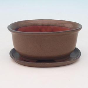 Taca miska Bonsai H 30 - miska 12 x 10 x 5 cm, taca 12 x 10 x 1 cm, brązowy - miska 12 x 10 x 5 cm, taca 12 x 10 x 1 cm
