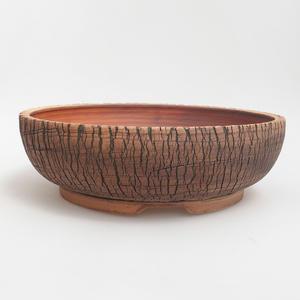 Ceramiczna miska bonsai 26 x 26 x 8 cm, kolor brązowo-zielony