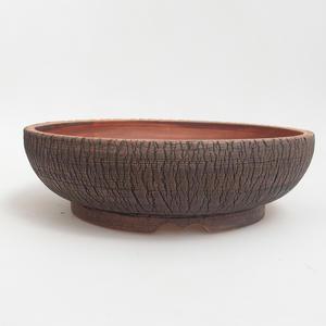 Ceramiczna miska bonsai 25 x 25 x 7 cm, kolor brązowo-zielony