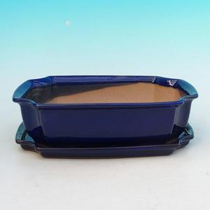 Taca miska Bonsai H03 - 16,5 x 11,5 x 5 cm, taca 16,5 x 11,5 x 1 cm, niebieski - 16,5 x 11,5 x 5 cm, taca 16,5 x 11,5 x 1 cm