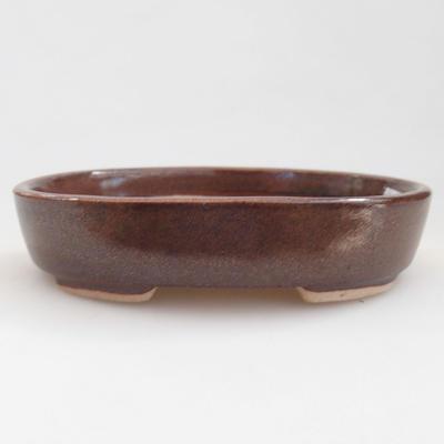 Ceramiczna miska bonsai 11 x 9 x 2,5 cm, kolor brązowy - 1