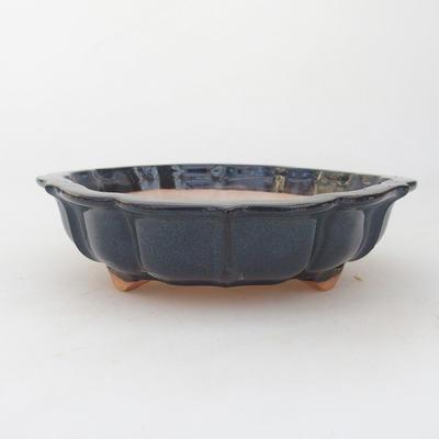 Ceramiczna miska bonsai 18 x 18 x 5 cm, kolor brązowo-niebieski - 1