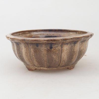 Ceramiczna miska bonsai 11,5 x 11,5 x 4,5 cm, kolor brązowo-beżowy - 1
