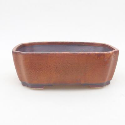 Ceramiczna miska bonsai 16,5 x 14 x 5,5 cm, kolor brązowy - 1