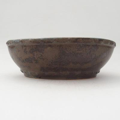 Ceramiczna miska bonsai 17,5 x 17,5 x 5,5 cm, kolor zielono-brązowy - 1