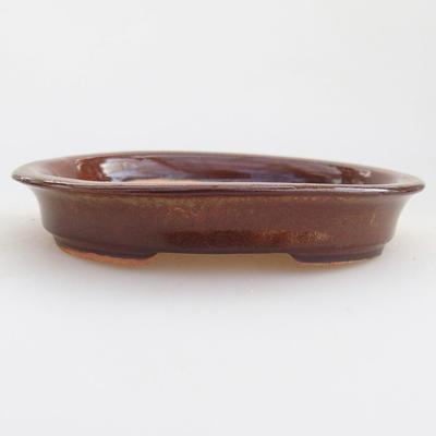 Ceramiczna miska bonsai 12 x 10 x 2,5 cm, kolor brązowy - 1