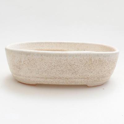 Ceramiczna miska bonsai 12,5 x 8,5 x 3,5 cm, kolor beżowy - 1