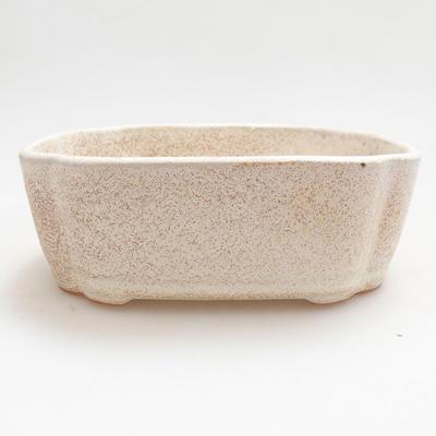 Ceramiczna miska bonsai 12 x 9,5 x 4 cm, kolor beżowy - 1