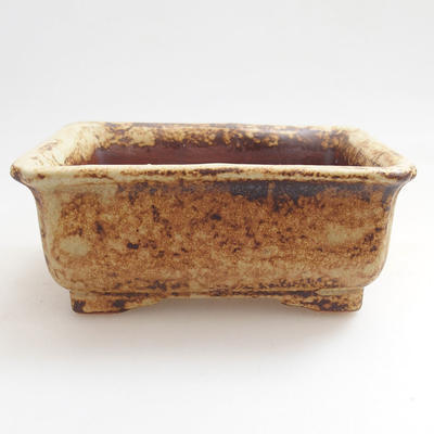 Ceramiczna miska bonsai 12 x 10 x 4,5 cm, kolor brązowo-żółty - 1