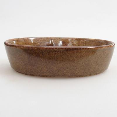 Ceramiczna miska bonsai 16 x 11 x 4 cm, kolor brązowy - 1