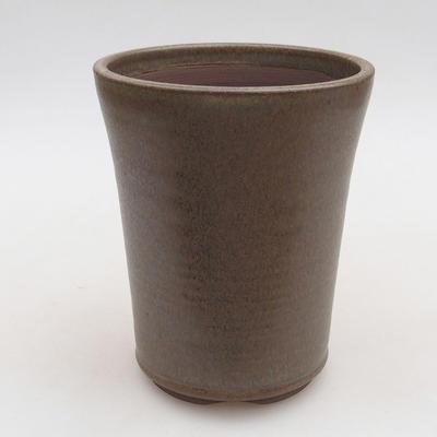 Ceramiczna miska bonsai 10,5 x 10,5 x 13 cm, kolor brązowy - 1