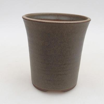 Ceramiczna miska bonsai 9,5 x 9,5 x 10,5 cm, kolor brązowo-zielony - 1