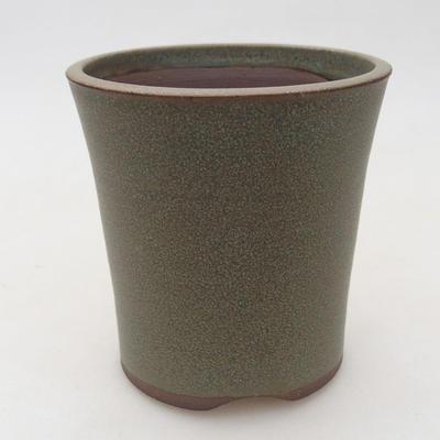 Ceramiczna miska bonsai 9,5 x 9,5 x 10 cm, kolor brązowo-zielony - 1