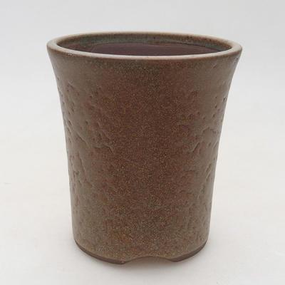 Ceramiczna miska bonsai 9,5 x 9,5 x 10,5 cm, kolor brązowy - 1