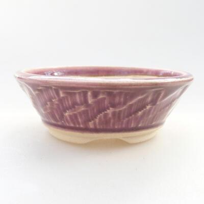 Ceramiczna miska bonsai 10 x 10 x 3,5 cm, kolor fioletowy - 1