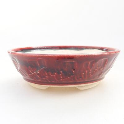 Ceramiczna miska bonsai 12 x 12 x 5 cm, kolor bordowy - 1