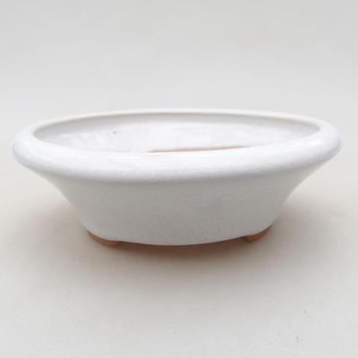 Ceramiczna miska bonsai 12,5 x 12,5 x 4 cm, kolor biały - 1