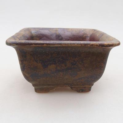 Ceramiczna miska bonsai 9 x 9 x 5,5 cm, kolor brązowy - 1