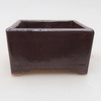 Ceramiczna miska bonsai 8 x 8 x 4,5 cm, kolor brązowy - 1