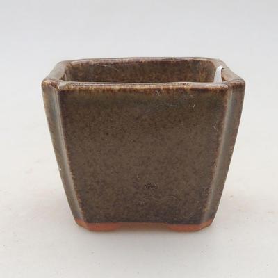 Ceramiczna miska bonsai 6,5 x 6,5 x 5,5 cm, kolor brązowo-zielony - II gatunek - 1