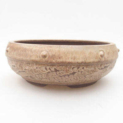 Ceramiczna miska bonsai 18,5 x 18,5 x 7 cm, kolor brązowy - 1