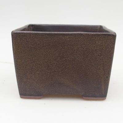 Ceramiczna miska bonsai 2. jakości - 15,5 x 15,5 x 11 cm, kolor brązowy - 1