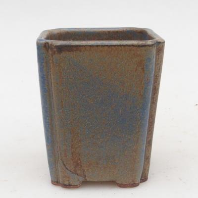 Ceramiczna miska bonsai 2. jakości - 7 x 7 x 5 cm, kolor brązowo-niebieski - 1