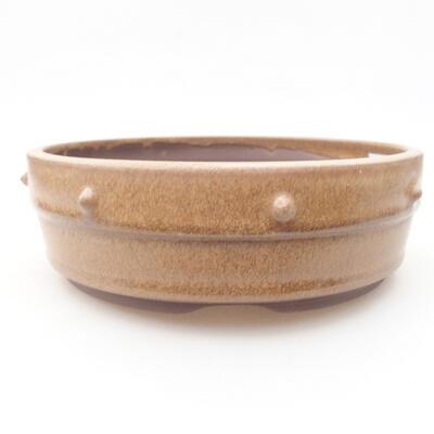 Ceramiczna miska bonsai 17,5 x 17,5 x 5,5 cm, kolor brązowy - 1