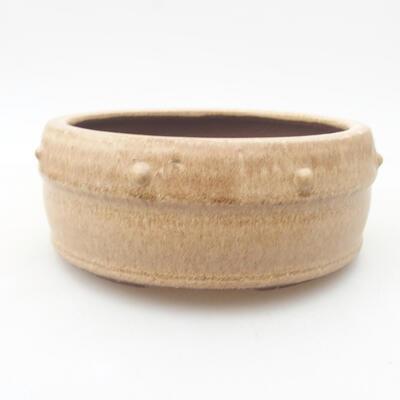 Ceramiczna miska bonsai 13,5 x 13,5 x 5,5 cm, kolor beżowy - 1