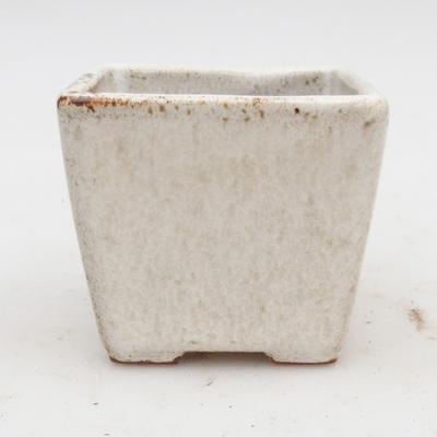 Ceramiczna miska bonsai 2. jakości - 7 x 7 x 6,5 cm, kolor beżowy - 1