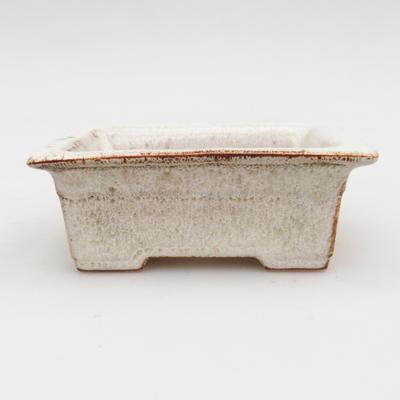 Ceramiczna miska bonsai 2. jakości - 11 x 8,5 x 4 cm, kolor beżowy - 1