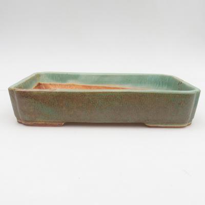 Ceramiczna miska bonsai 2. jakości - 23,5 x 17 x 4,5 cm, kolor brązowo-zielony - 1