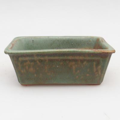 Ceramiczna miska bonsai 2. jakości - 12 x 8 x 4 cm, kolor brązowo-zielony - 1