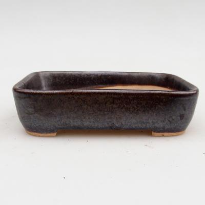 Ceramiczna miska bonsai 2. jakości - 12,5 x 9,5 x 3 cm, kolor brązowy - 1