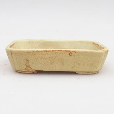 Ceramiczna miska bonsai 2. jakości - 12 x 9 x 3 cm, kolor brązowo-żółty - 1