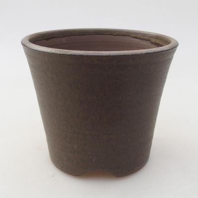 Ceramiczna miska bonsai 9,5 x 9,5 x 8 cm, kolor brązowy - 1