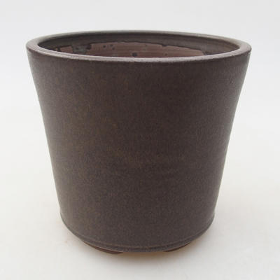 Ceramiczna miska bonsai 9,5 x 9,5 x 9 cm, kolor brązowy - 1