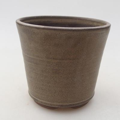 Ceramiczna miska bonsai 9,5 x 9,5 x 8,5 cm, kolor brązowy - 1