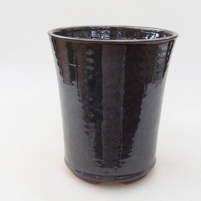 Ceramiczna miska bonsai 14 x 14 x 16,5 cm, kolor metalowy - 1
