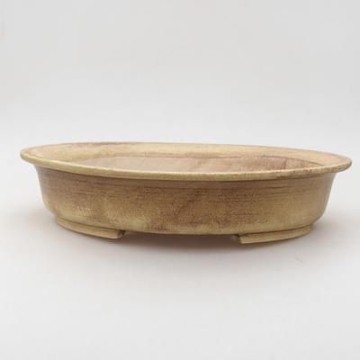 Ceramiczna miska bonsai 28 x 25 x 6 cm, kolor brązowo-żółty - 1