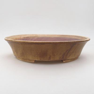 Ceramiczna miska bonsai 26,5 x 21,5 x 6 cm, kolor brązowy - 1