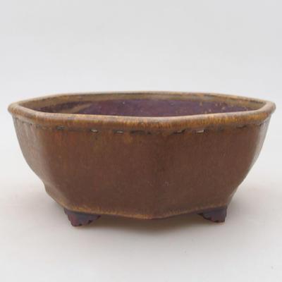 Ceramiczna miska bonsai 15,5 x 15,5 x 6,5 cm, kolor brązowy - 1