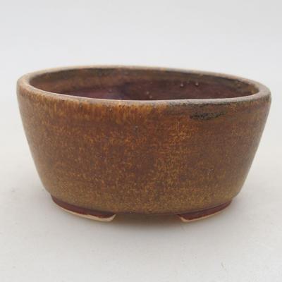 Ceramiczna miska bonsai 7,5 x 6,5 x 3,5 cm, kolor brązowy - 1