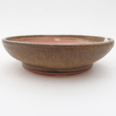 Ceramiczna miska bonsai 11 x 11 x, 3 cm, kolor brązowy - 1
