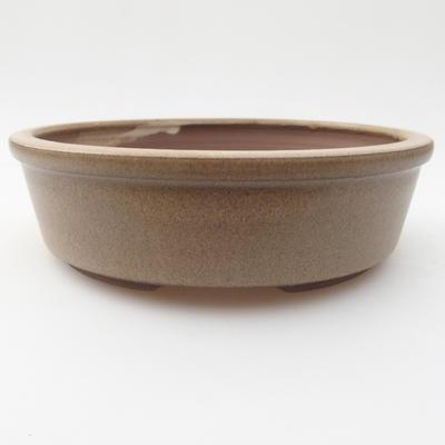 Ceramiczna miska bonsai 15,5 x 15,5 x 4,5 cm, kolor beżowy - 1
