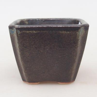 Ceramiczna miska bonsai 7 x 7 x 5,5 cm, kolor brązowo-niebieski - 1